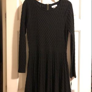 Black fit and flare knit dress
